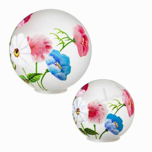 8LED297: EG LED Glass Orbs- Set of 2- Vivid Bouquet