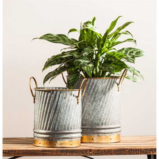 8PMTL051: EG Set of 2 Metal Planters /Containers