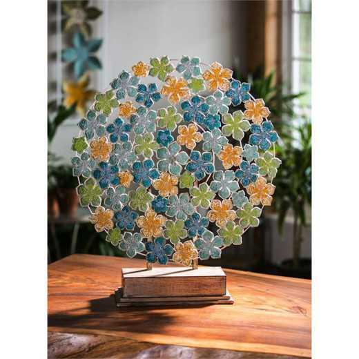 8TAM278: EG Metal Beaded Flower Easel on Stand