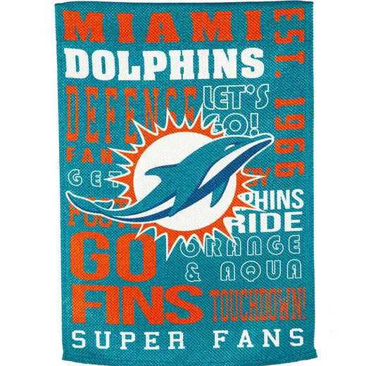 14ES3816FR: EG Fan Rules Garden Flag' Miami Dolphins