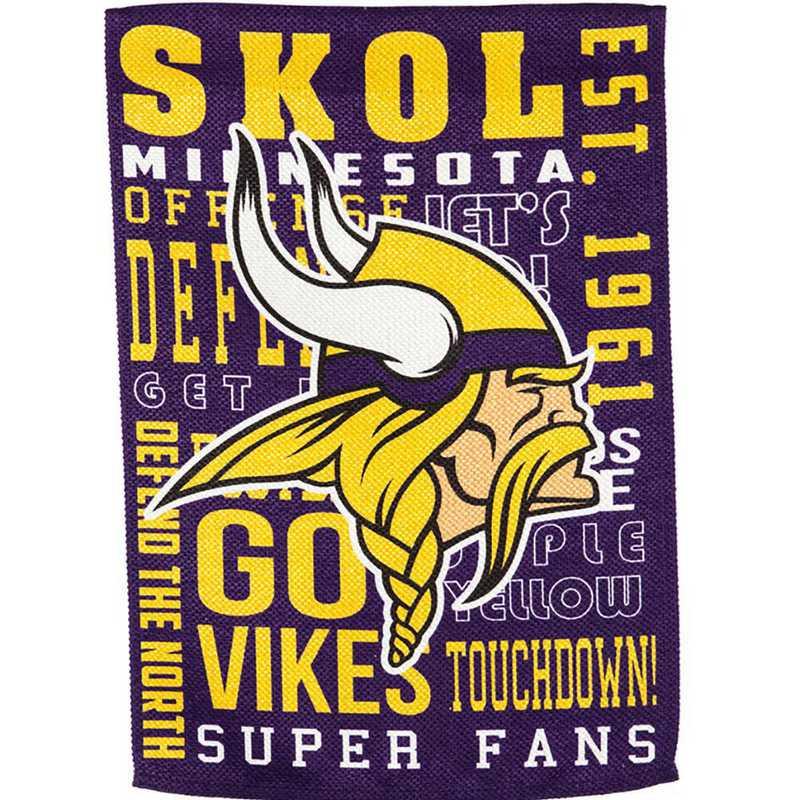 14ES3817FR: EG Fan Rules Garden Flag' Minnesota Vikings