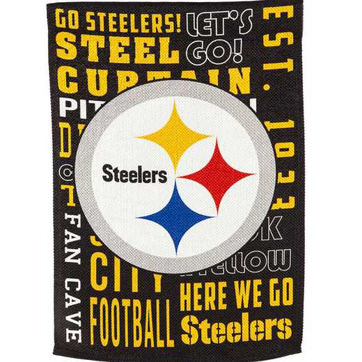 14ES3824FR: EG Fan Rules Garden Flag' Pittsburgh Steelers