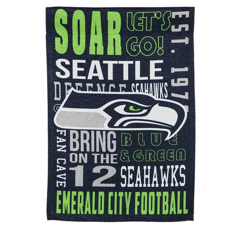 14ES3827FR: EG Fan Rules Garden Flag' Seattle Seahawks