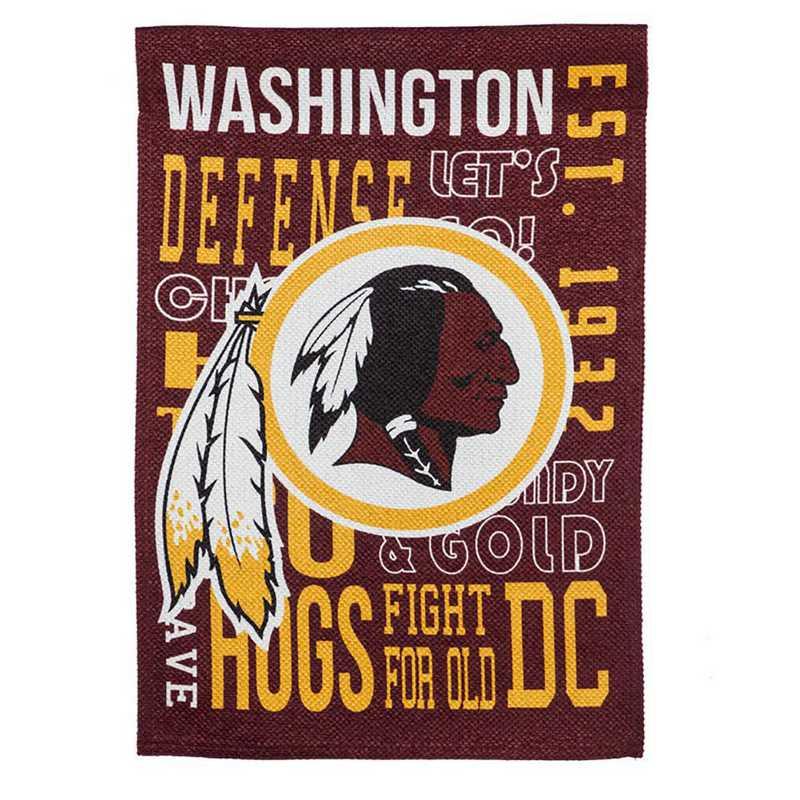 14ES3831FR: EG Fan Rules Garden Flag' Washington Redskins