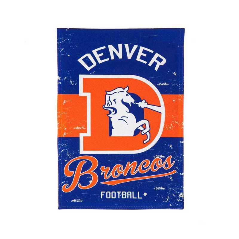 14L3809VINT: EG Vintage Linen Garden Flag, Denver Broncos
