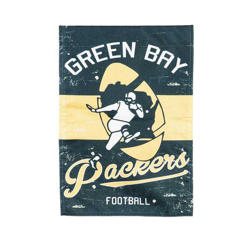 14L3811VINTB: EG Vintage Linen Garden Flag, Green Bay Packers