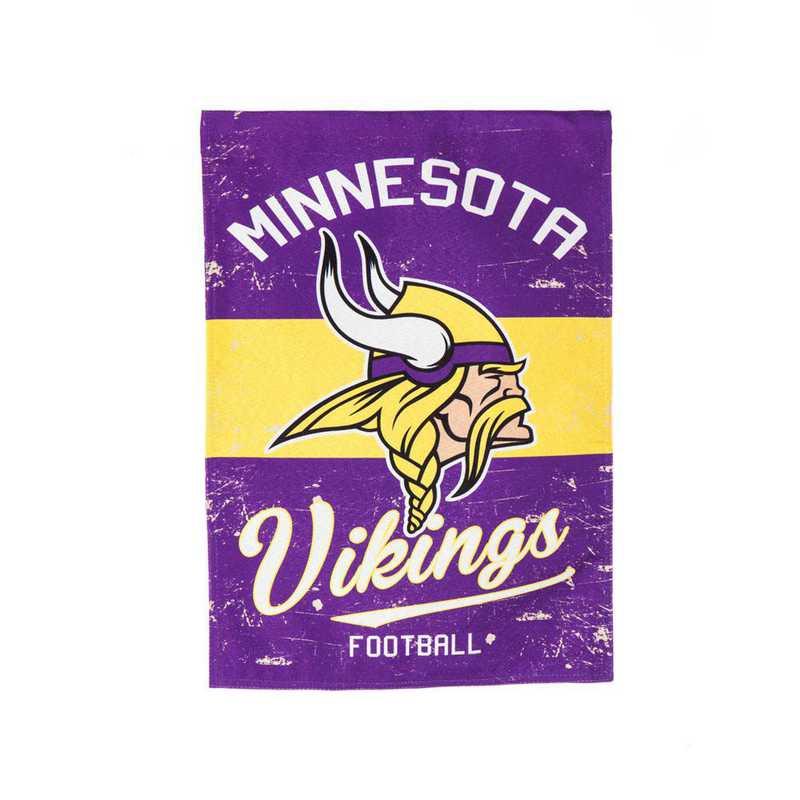 14L3817VINT: EG Vintage Linen Garden Flag, Minnesota Vikings