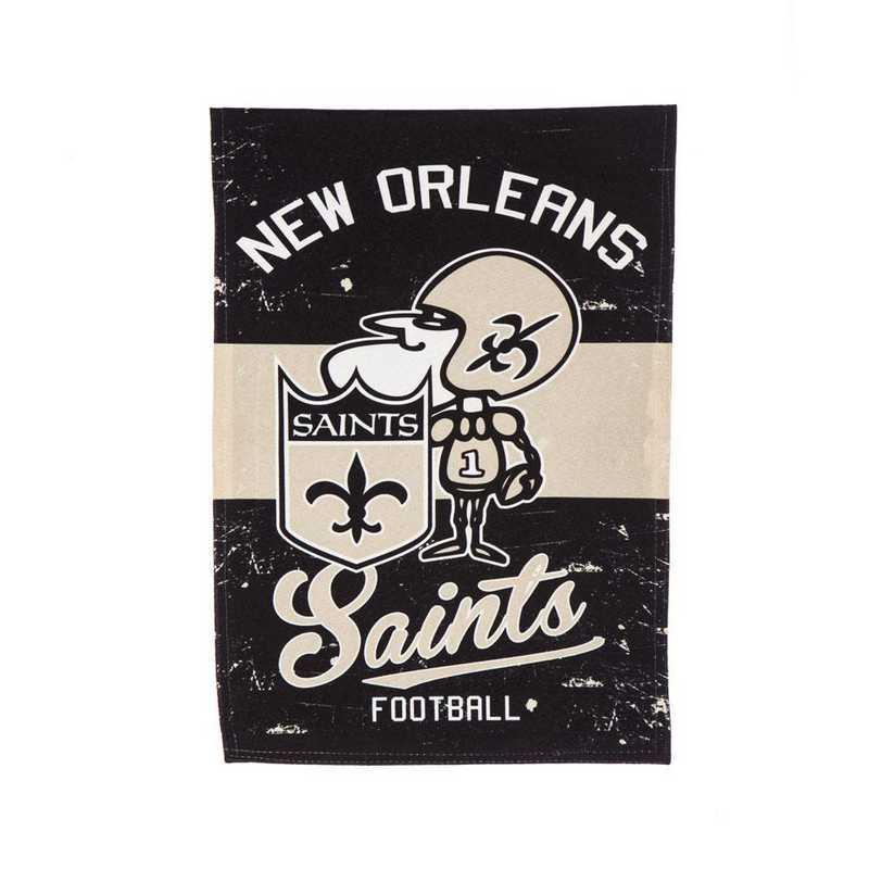 14L3819VINT: EG Vintage Linen Garden Flag, New Orleans Saints
