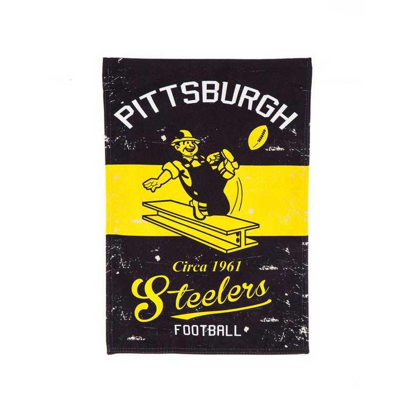 14L3824VINT: EG Vintage Linen Garden Flag, Pittsburgh Steelers
