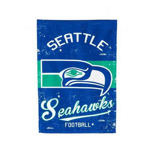 14L3827VINT: EG Vintage Linen Garden Flag, Seattle Seahawks