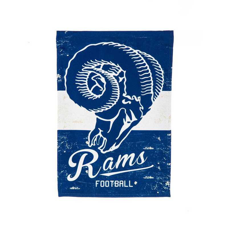 14L3828VINT: EG Vintage Linen Garden Flag, LA Rams
