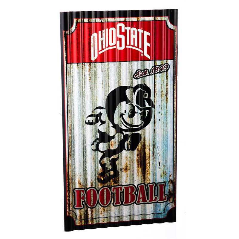 6M973: EG Ohio State Corrugated Metal Wall Art