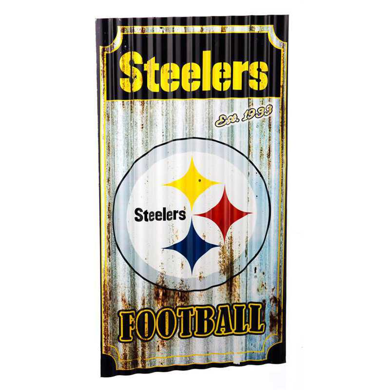 6M3824: EG Pittsburgh Steelers Corrugated Metal Wall Art
