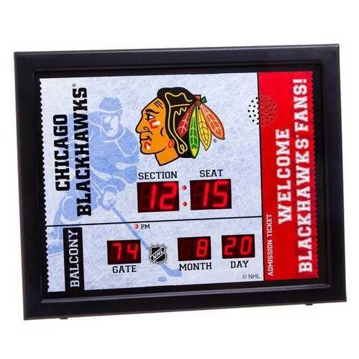 7CL4355: Bluetooth Scoreboard Wall Clock, Chicago Blackhawks