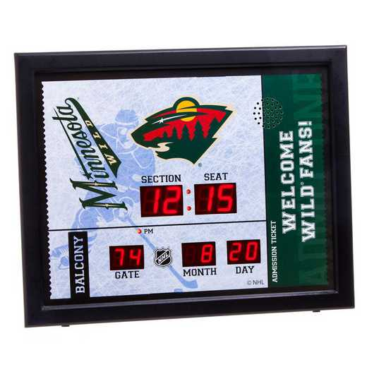7CL4363: Bluetooth Scoreboard Wall Clock, Minnesota Wild