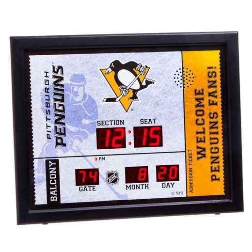 7CL4372: Bluetooth Scoreboard Wall Clock, Pittsburgh Penguins