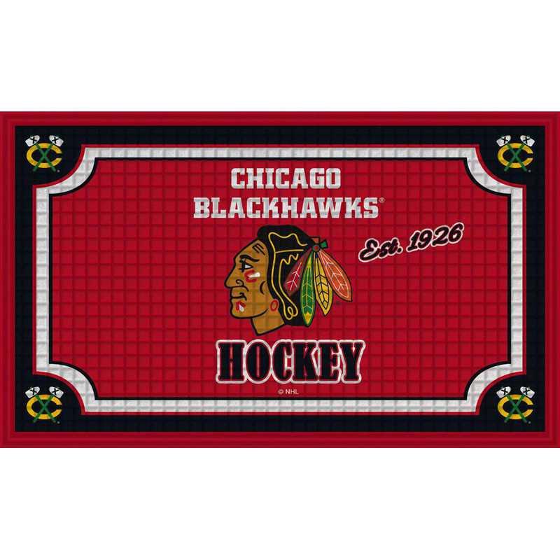 41EM4355: EG Embossed Door Mat, Chicago Blackhawks