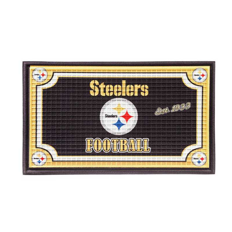 41EM3824: EG Embossed Door Mat-Pittsburgh Steelers