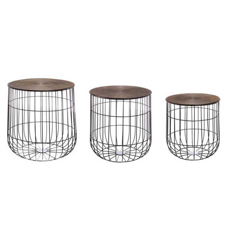 8SSM097: EG Nested Wire Basket with Bronze Finished Cast Lid- Set of 3