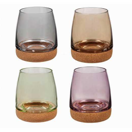 3SL054: Set/4 Glasses with Cork Bottom