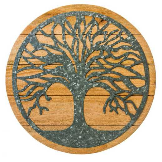 6AWD105: EG Round Tree of Life Wood and Metal Wall Decor