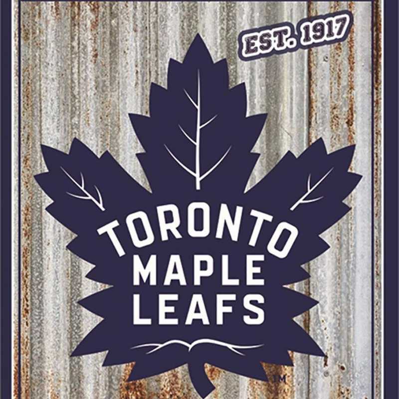 6M4376B: EG Toronto Maple Leafs Corrugated Metal Wall Art