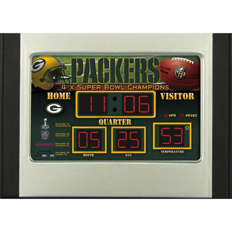 0128802: EG SB 6.5x9 Desk Clock, Green Bay Packers
