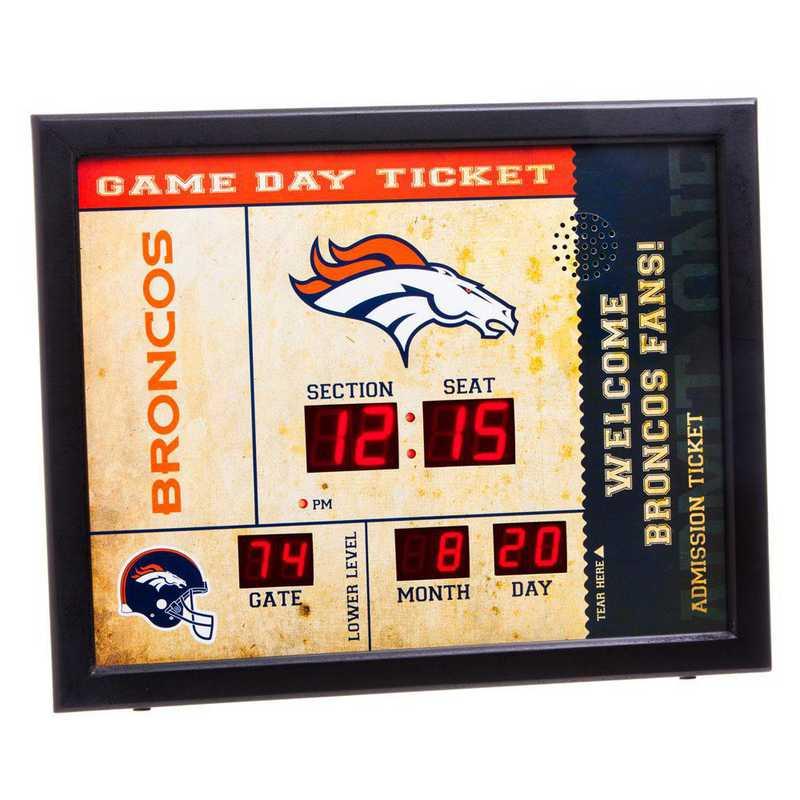 7CL3809: EG BT SB Wall Clock, Denver Broncos