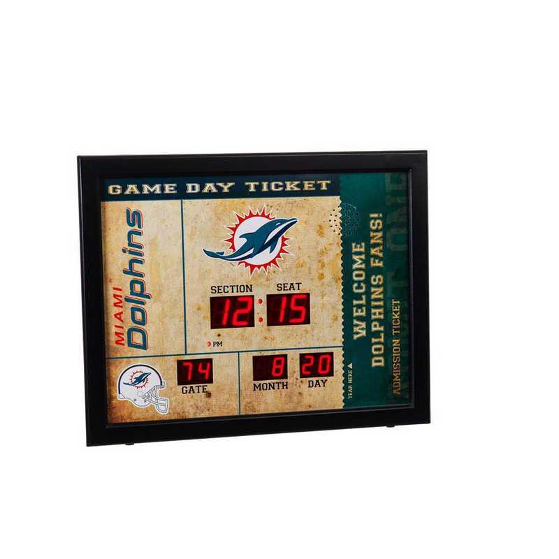 7CL3816: EG BT SB Wall Clock, Miami Dolphins