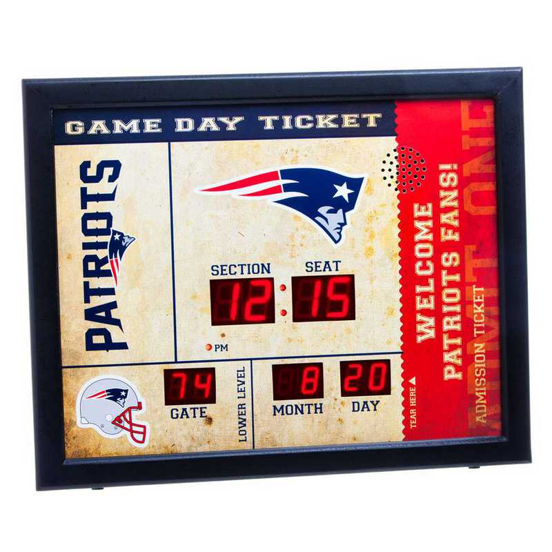 7CL3818: EG BT SB Wall Clock, New England Patriots