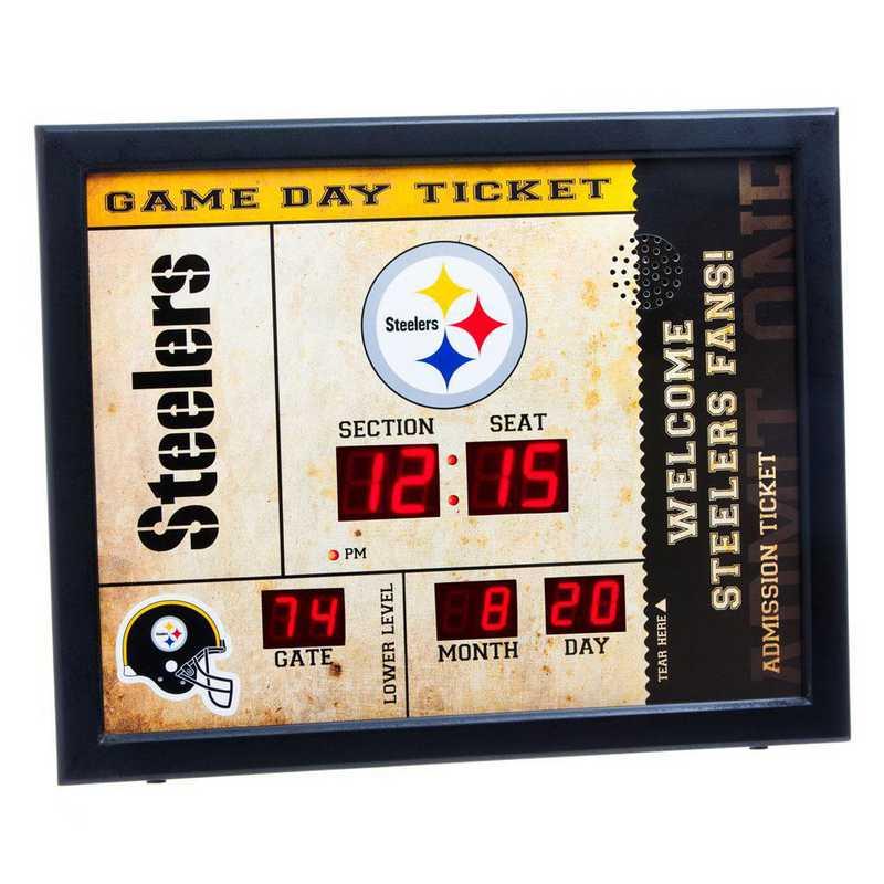 7CL3824: EG BT SB Wall Clock, Pittsburgh Steelers