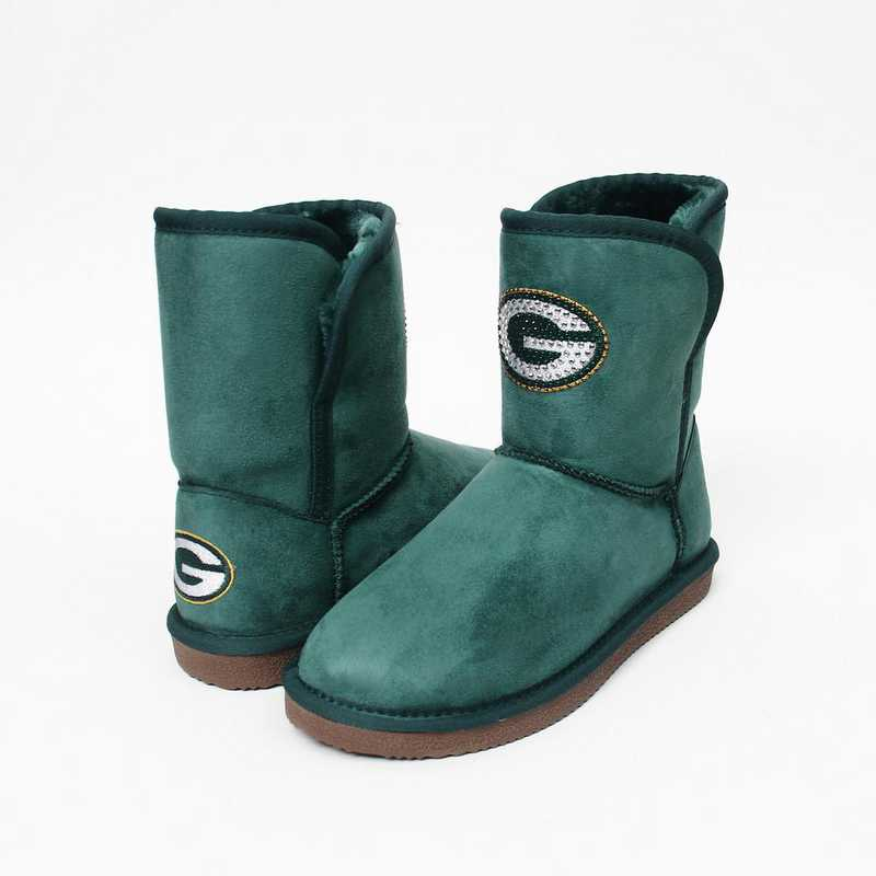 NFL Green Bay Packers boot with crystal accent logo