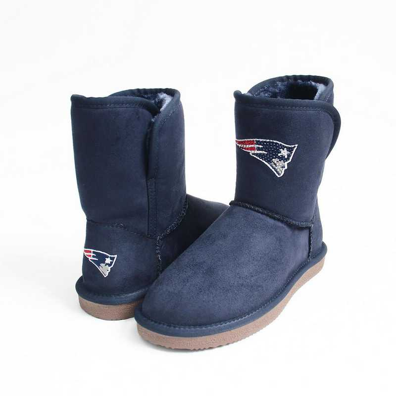 NFL New England Patriots boot with crystal accent logo