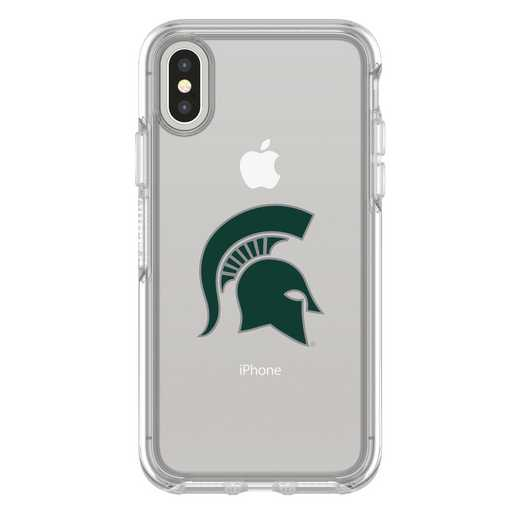 IPH-X-CL-SYM-MCS-D101: FB Michigan St iPhone X Symmetry Series Clear Case