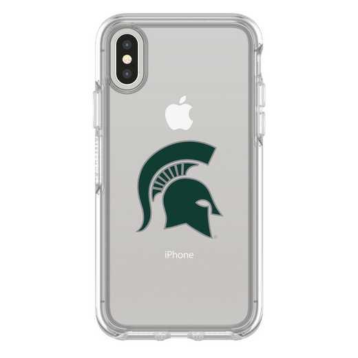 IPH-X-CL-SYM-MCS-D101: FB Michigan St iPhone X Symmetry Series Clear Case