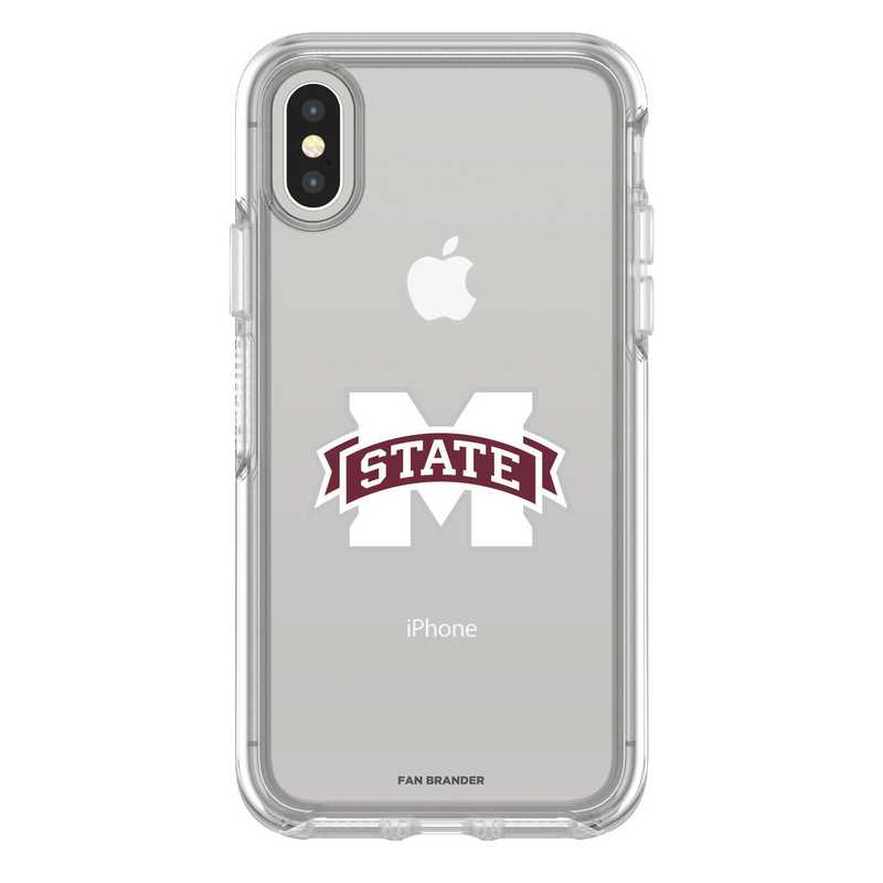 IPH-X-CL-SYM-MSST-D101: FB Mississippi St iPhone X Symmetry Series Clear Case