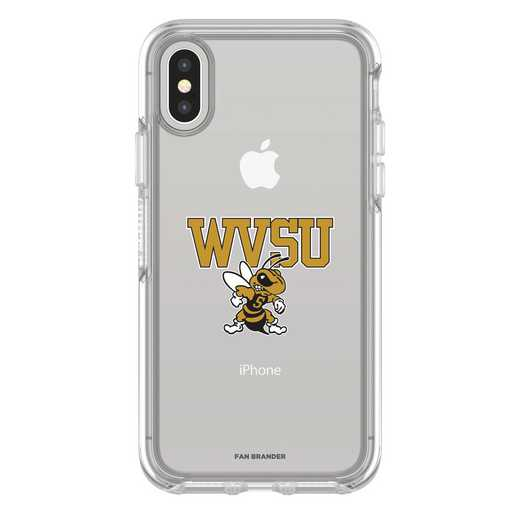 IPH-X-CL-SYM-WVSU-D101: FB West Virginia St iPhone X Symmetry Series Clear Case