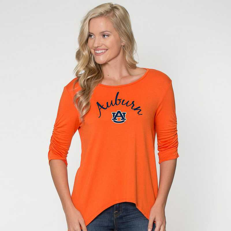 Auburn -  Anna Hi-Lo Scrunch Sleeve Top by Flying Colors