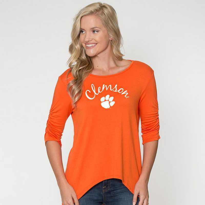 Clemson - Anna Hi-Lo Scrunch Sleeve Top by Flying Colors