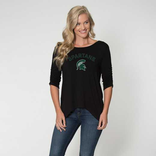 Michigan State - Anna Hi-Lo Scrunch Sleeve Top by Flying Colors