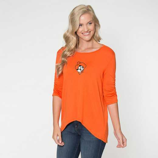 Oklahoma State-  Anna Hi-Lo Scrunch Sleeve Top by Flying Colors