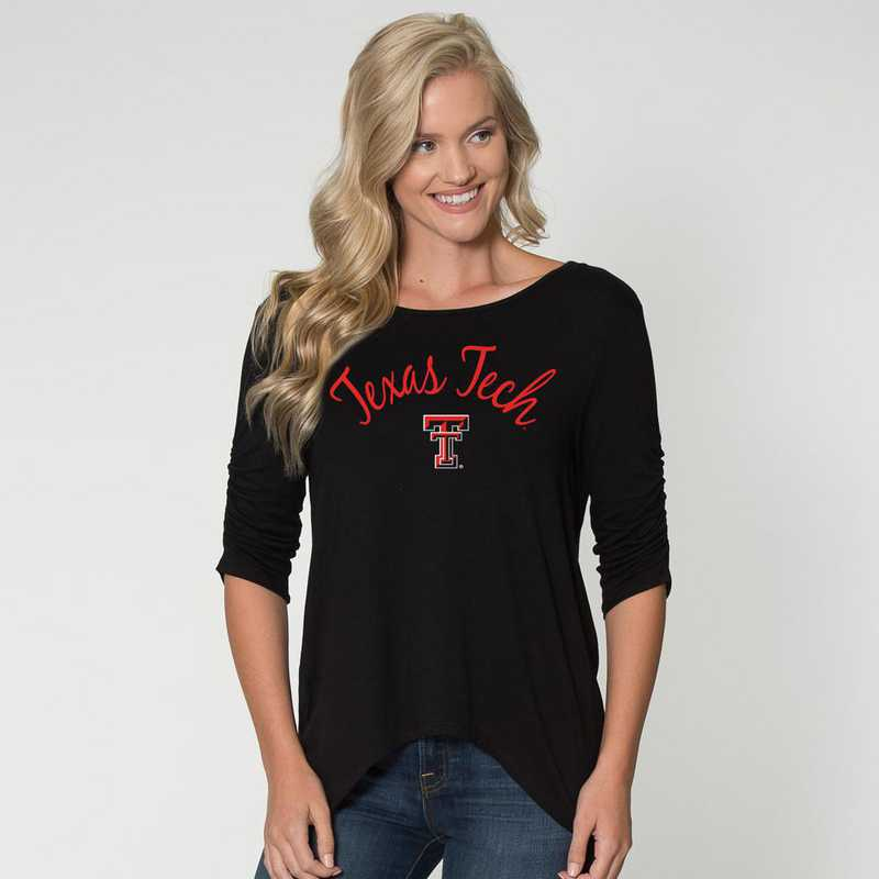 Texas Tech - Anna Hi-Lo Scrunch Sleeve Top by Flying Colors