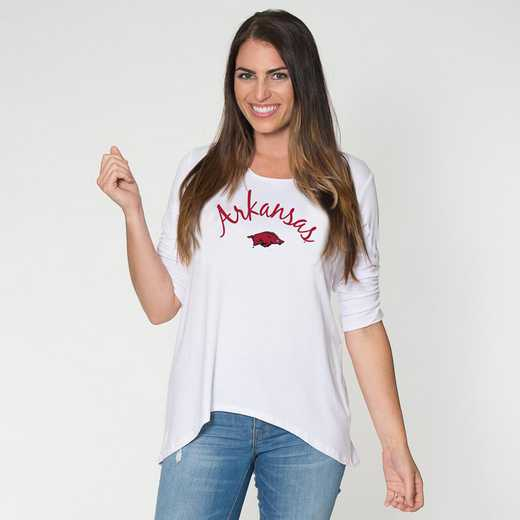 Arkansas - Anna Hi-Lo Scrunch Sleeve Top by Flying Colors