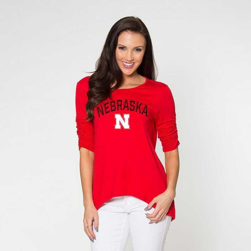 Nebraska - Anna Hi-Lo Scrunch Sleeve Top by Flying Colors