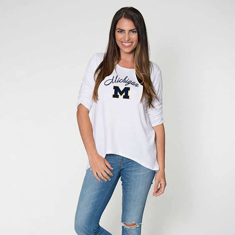 Michigan - Anna Hi-Lo Scrunch Sleeve Top by Flying Colors