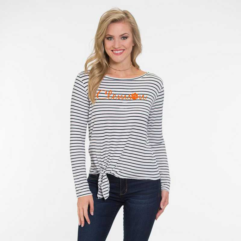 Clemson  Tara Long Sleeve Tie-Front Top by Flying Colors