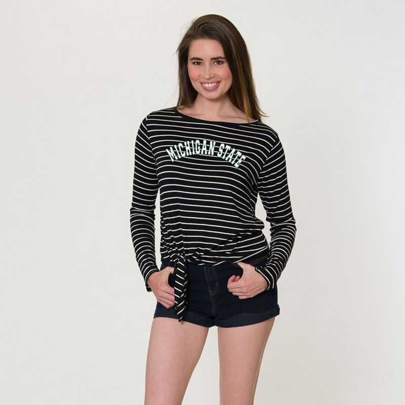 Michigan State  Tara Long Sleeve Tie-Front Top by Flying Colors