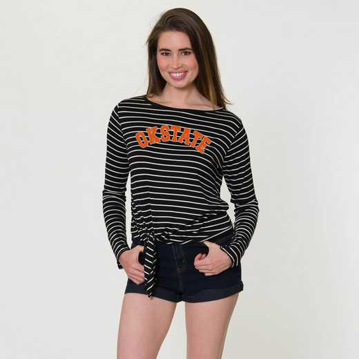 Oklahoma State  Tara Long Sleeve Tie-Front Top by Flying Colors
