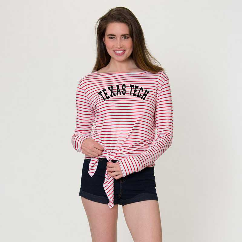 Texas Tech  Tara Long Sleeve Tie-Front Top by Flying Colors