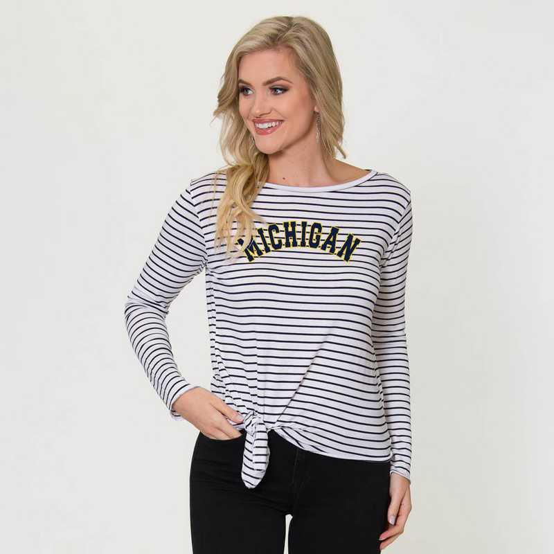 Michigan  Tara Long Sleeve Tie-Front Top by Flying Colors